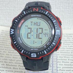 美品 ★ ARMITRON デジタル 多機能 メンズ 腕時計 ★ アーミトロン アラーム クロノ タイマー ブラック 稼動品 F5661