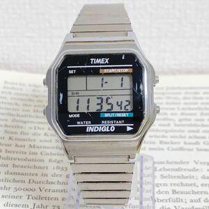 ★ TIMEX デジタル 腕時計 ★ タイメックス アラーム クロノ シルバー 稼動品 F5736