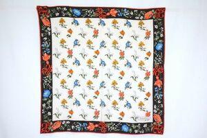 ティファニー 88cm 大判 スカーフ シルク100% フラワー 花柄 バイカラー ストール 黒 ブラック 良品 TIFFANY&Co. 6040k