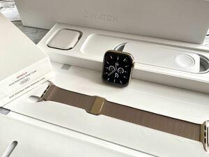 ★ 美品 ★ アップルウォッチ Apple Watch Series 6 ゴールド ステンレススチール 44mm GPS Cellular 純正品 ゴールド ミラネーゼループ