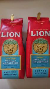 ライオンコーヒー☆粉 バニラマカダミア・チョコレートマカダミア 各7oz(198g)×2袋