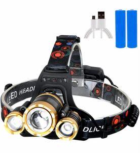 高輝度LEDヘッドライト USB 充電式 12000ルーメン 軽量 防水 4モードと調節可能 ヘッドバンド付 ハイキング 釣り