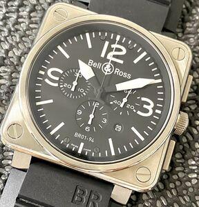 1円~ S 良品 Bell&Ross ベル&ロス BR01-94-S クロノグラフ デイト 付属品 箱 冊子 未使用ブレス メンズ 腕時計 16813947