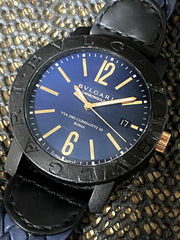 1円~ ブルガリ BB40CL ブルガリブルガリ ブルーダイヤル メンズ 裏スケ 純正ブレス 時計 s12815