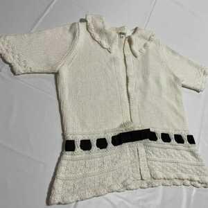 高級 FOXEY BOUTIQUEフォクシー ブティック半袖ニットカーディガン ホワイト 40 ワンピース ドレス
