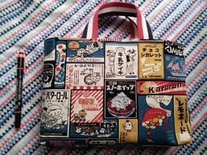 トートバッグ プチサイズ 昭和レトロ レモネードBL お菓子柄 看板柄 帆布 バッグインバッグ