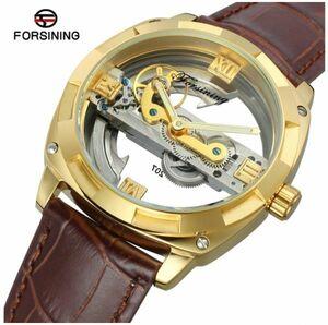 ☆メンズ高級腕時計 43mm 機械式自動巻 スケルトンデザイン トゥールビヨン 本革ベルト 紳士ウォッチ☆