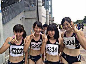 生写真  女子アスリート 陸上女子  レーシングブルマ 3人以上