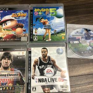 PS3ソフト みんなのゴルフ5 NBAライブ09 ウイニングイレブン2011 2012 パワプロ2016 ジャンク5本セット