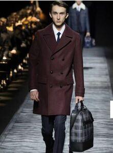 Dior homme ディオールオム15aw ウール ダブルチェスターコート ジャケット Pコート トレンチコート ワインレッド