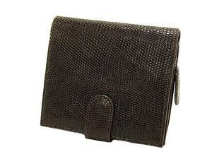 富士屋◆送料無料◆値下げ品◆ボッテガ・ヴェネタ BOTTEGA VENETA リザード ファスナー付 二つ折り財布