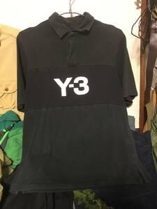 2109Yohji Yamamotoヨウジヤマモト×アディダスadidasワイスリーY-3ロゴプリントS/S半袖ラガーシャツ ジャージ プルオーバーP/OシャツY'S
