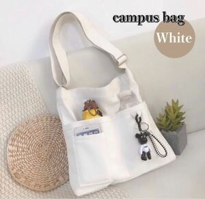 ショルダーバッグ 韓国 トートバッグ キャンパストートバッグ 帆布バッグ サブバッグ エコバッグ ホワイト 大容量 新品未使用