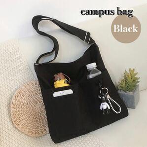ショルダーバッグ キャンパストートバッグ ボディバッグ サブバッグ 帆布バッグ ブラック 万能 韓国 ファッション 新品未使用