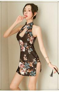 セクシーコスプレ チャイナドレス チャイナ服 黒チャイナドレス お花柄 衣装