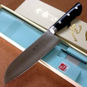 関の刃物 三徳包丁 16.5cm (165mm) 武次作 クロムモリブデン AUS-8 積層合板柄 家庭用 肉切り 魚の処理 野菜切り 両刃万能包丁 国産日本製