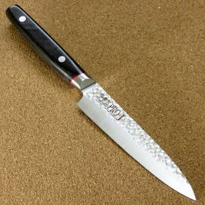 関の刃物 ペティナイフ 12cm (120mm) 関兼次 PRO-J 鎚目鍛造ブレード 3層鋼 ZA-18 果物包丁 野菜 果物の皮むき 小型両刃ナイフ 日本製