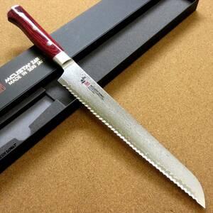 関の刃物 パン切り包丁 23cm (230mm) 三昧 クラシック プロ ダマスカス 紅蓮 33層 赤合板 パンを切りやすい 波形の刃 片刃 右利き用 日本製