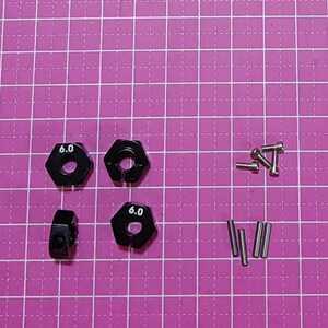 即決《送料無料》 ■黒 6mm■アルミ ホイール ハブ    ラジコン TT-02 YD-2 ヨコモ レッド マウント ドリパケ tt01 ラジコン