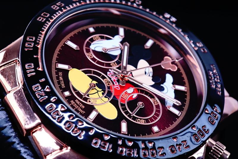 1円×2本【ほぼ入手不可能】Disney限定/MICKEYミッキーマウス別注コラボ時計クロノグラフ美しすぎるエヴァーローズゴールド5気圧新品逆輸入