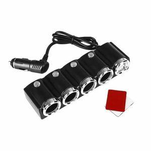 4連シガーライターソケット USBポート DC12V/24V車電源増設用 カーチャージャー iPhone LED シガーソケット 充電ケーブル スイッチ