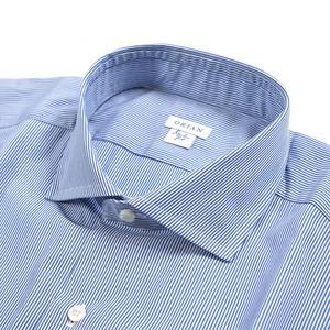 新着 新品 2.5万 オリアン ORIAN シャツ ホリゾンタルカラー 長袖 メンズ コットン 100% ストライプ ブルー ホワイト イタリア製354420
