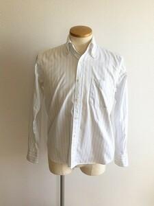 スティアンコル 日本製 コットン ホワイト 系 ストライプ ボタンダウン ドレスシャツ 1 S - M 位 ネコポス ゆうパケット可 SOUNTIENCOL