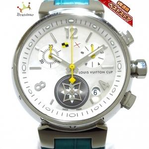 ヴィトン 腕時計 タンブールクロノ ラブリーカップ Q132C/Q132C2 レディース SS/クロノグラフ/シェル文字盤/革ベルト ホワイトシェル