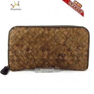 ボッテガヴェネタ BOTTEGA VENETA 長財布 114076 イントレチャート パイソン ライトブラウン×ブラウン ラウンドファスナー 財布
