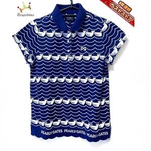パーリーゲイツ PEARLY GATES 半袖ポロシャツ サイズ1 S - ネイビー×白 レディース クジラ トップス