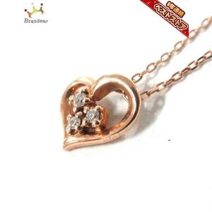 カナルヨンドシー canal4℃ ネックレス K10PG×ダイヤモンド ハート/3Pダイヤ 美品 アクセサリー(首)