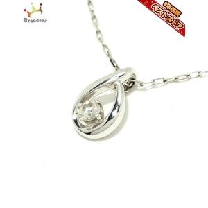 ヨンドシー 4℃ ネックレス - K10WG×ダイヤモンド 1Pダイヤ 美品 アクセサリー(首)