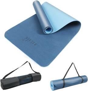 ヨガマット トレーニングマット ストレッチマット TPE環境保護素材 6mm SGS認証済み 両面滑り止め 収納ケース付き ブルー