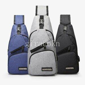 新品ボディバッグ メンズ レディース ワンショルダー おしゃれ カバン かばん 鞄 軽量 斜めがけ USB充電ポート アウトドア 男女兼用 バ