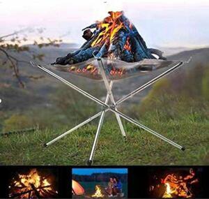 焚き火台 メッシュシート2枚付 折りたたみ式 焚き火スタンド  キャンプ用品 焚火台