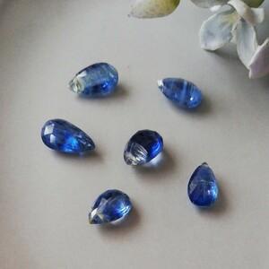 カイヤナイト★天然石ビーズ 素材 パーツ ピアス素材 ブルー パワーストーン 誕生石