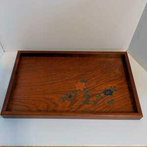 木製 花柄 長手盆 長方形 レトロ おぼん トレー 明るいブラウン お盆 51×31×3.8cm しっかりした作り 昭和レトロ 上品