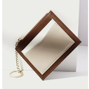 パスケース 定期入れ 財布レディース 二つ折り財布 カード入れ カードケース ブラウン