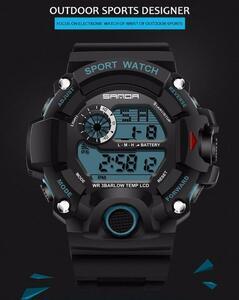 ◇特価 デジタル腕時計 メンズウォッチ Gshock型 アウトドア バックライト スポーツ カジュアル 防水 耐衝撃 ブラック