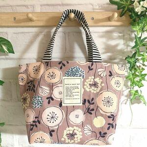 北欧の森 ミニトートバッグ ハンドメイド 北欧風 ナチュラル くすみピンク 花柄 ランチバッグ