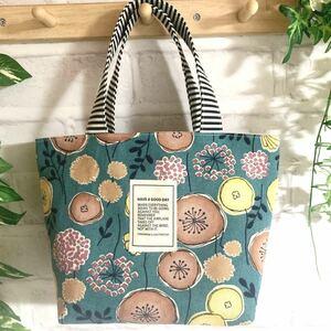 北欧の森 ミニトートバッグ ハンドメイド 北欧風 ターコイズブルー 花柄 ランチバッグ