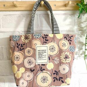 北欧の森 ミニトートバッグ ハンドメイド 北欧風 くすみピンク 花柄 ランチバッグ
