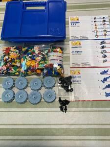 即決 送料無料 ラキュー LaQ  大量 1563ピース ブルー ケース 説明書 ミニタイヤ  ハマクロン シャフト 知育玩具