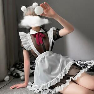 セクシー可愛い シフォン シースルー メイド服セット ワンピース  エプロン