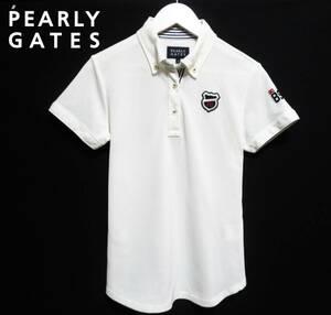 美品 PEARLYGATES パーリーゲイツ ドライポロシャツ ボタンダウン 半袖トップス レディース ゴルフウエア 89 ロゴ刺繍 日本製
