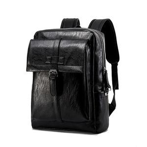 #7223 【ブラック】 PUレザーバックパック ビジネスリュック メンズ鞄 リュックサック バッグ 通勤対応 A4収納 カジュアル 【10020009#1】