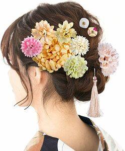髪飾り 和装 花 つまみ細工 成人式 七五三 浴衣 袴 着物 振袖 卒業式 結婚式 鈴付き 手作り7FOH