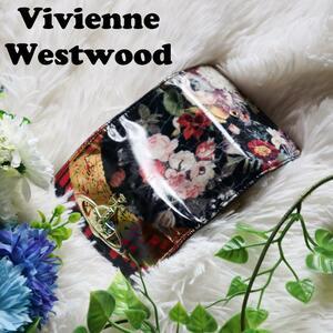 ヴィヴィアンウエストウッド Vivienne Westwood 4連キーケース ゴールドオーブ 花柄 総柄 ORB マルチカラー