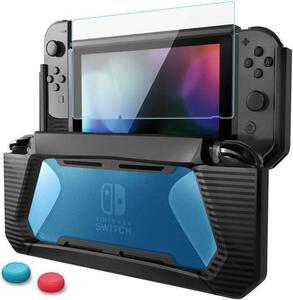 『F205N-青SWケース』新品 送料無料 新品 Nintendo Switch カバー 全面保護透明ブルー