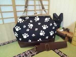 肉球 足跡 アニマル ネコ 猫 犬 動物 ブラック がま口 3way ショルダー バッグ ハンドメイド 手提げ 斜めかけ 和装 着物 長財布 入ります